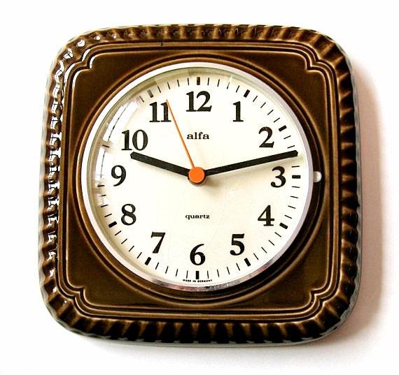 Vintage Kitchen Wall Clock ALFA. Brown Ceramic Wall By