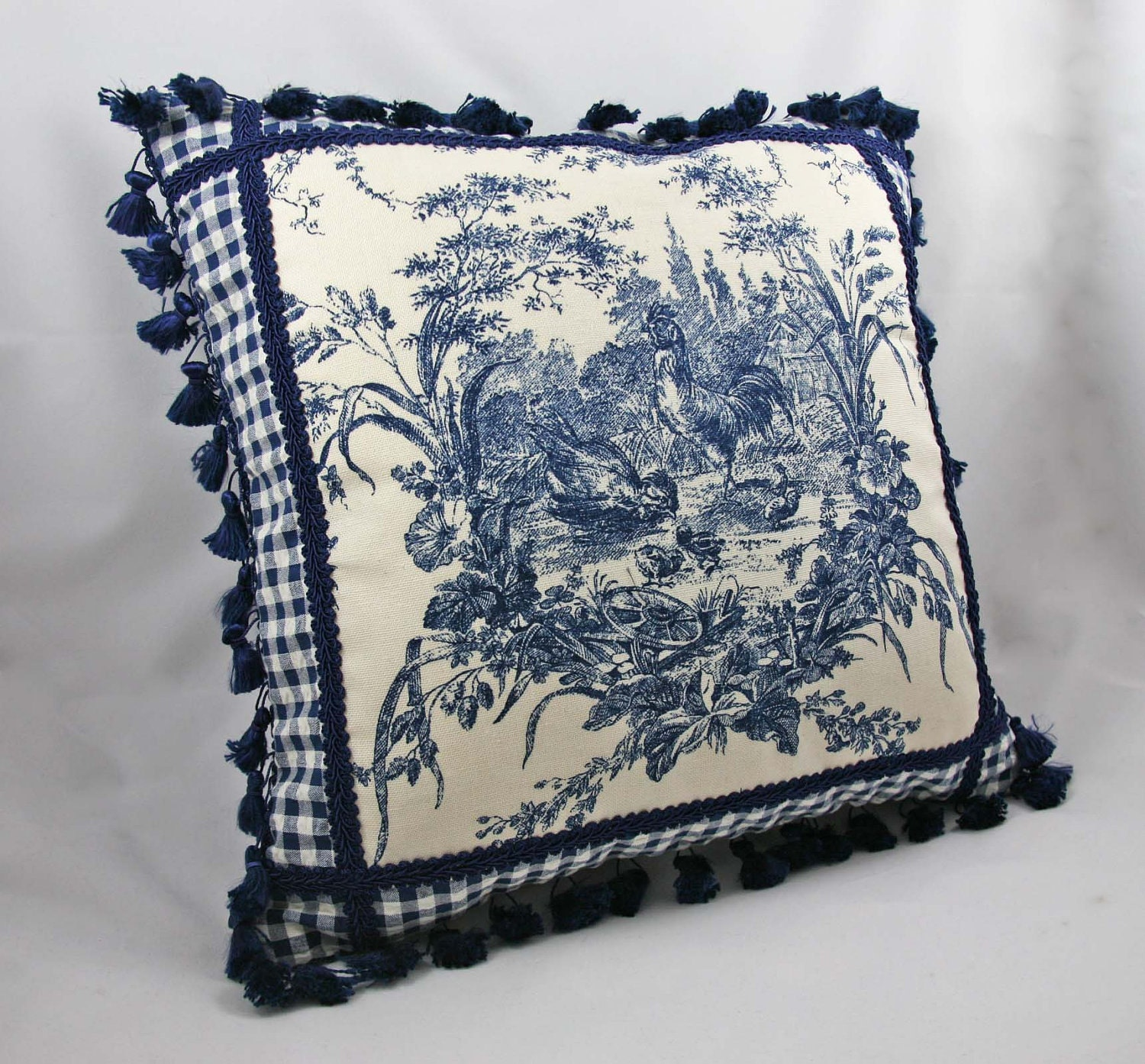 decorative pillow toile chicken bird blue white by. Black Bedroom Furniture Sets. Home Design Ideas