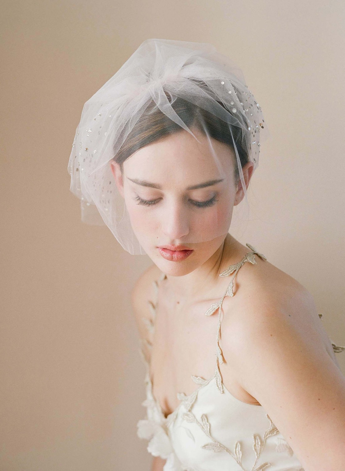 Bridal tulle blusher veil - Triple layer rhinestone adorned tulle veil with blusher - Style 216 - Made to Order