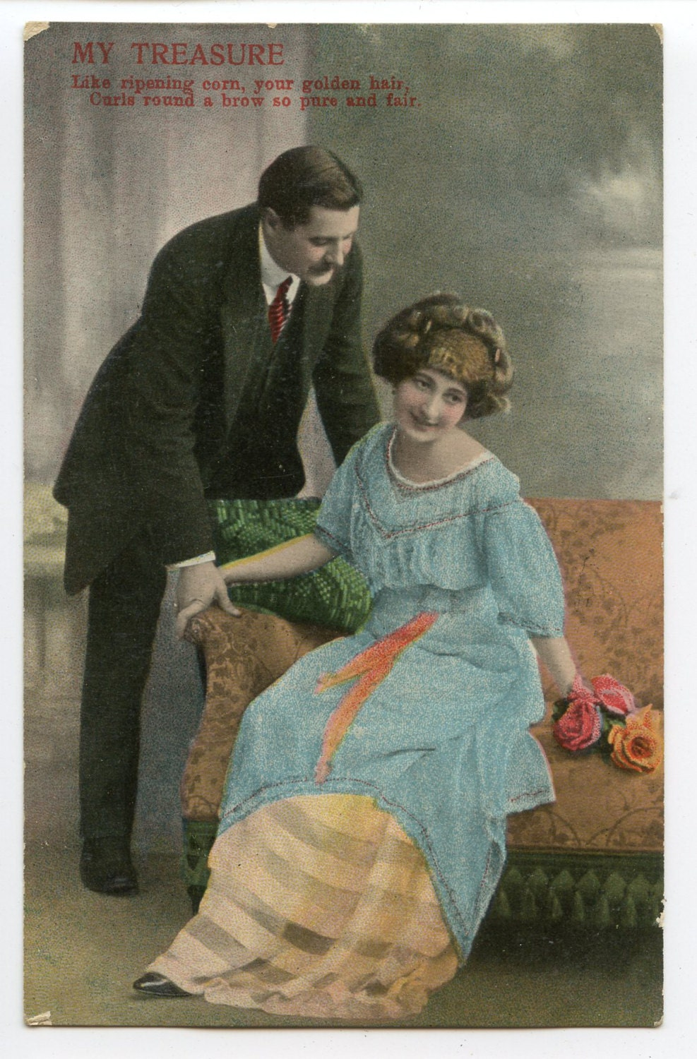 Image of 1900s Romantic Poem Postcard Antique Vintage Victorian Edwardian Glamour Lovers Romance