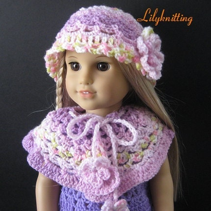 Pattern in PDF crocheted doll poncho for American by ...