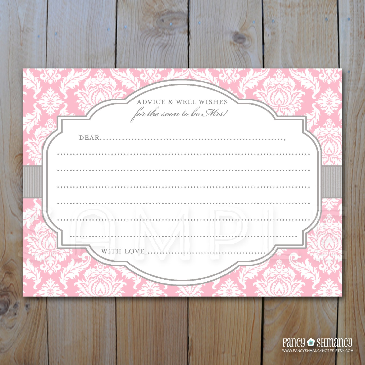 bridal shower advice card pink and grey damask instant download