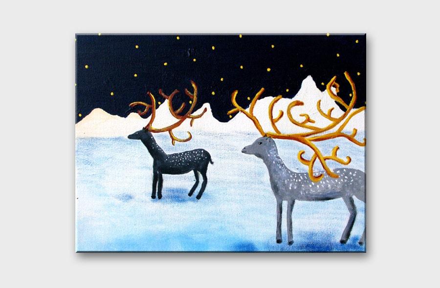 Original painting DEER in art Christmas home decor Gift idea for the home wall art / Winter animal acrylic painting Snow mountains art 11x14 - AstaArtwork