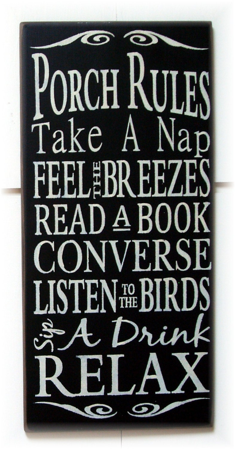 porch rules wood typography sign by woodsignsbypatti on etsy