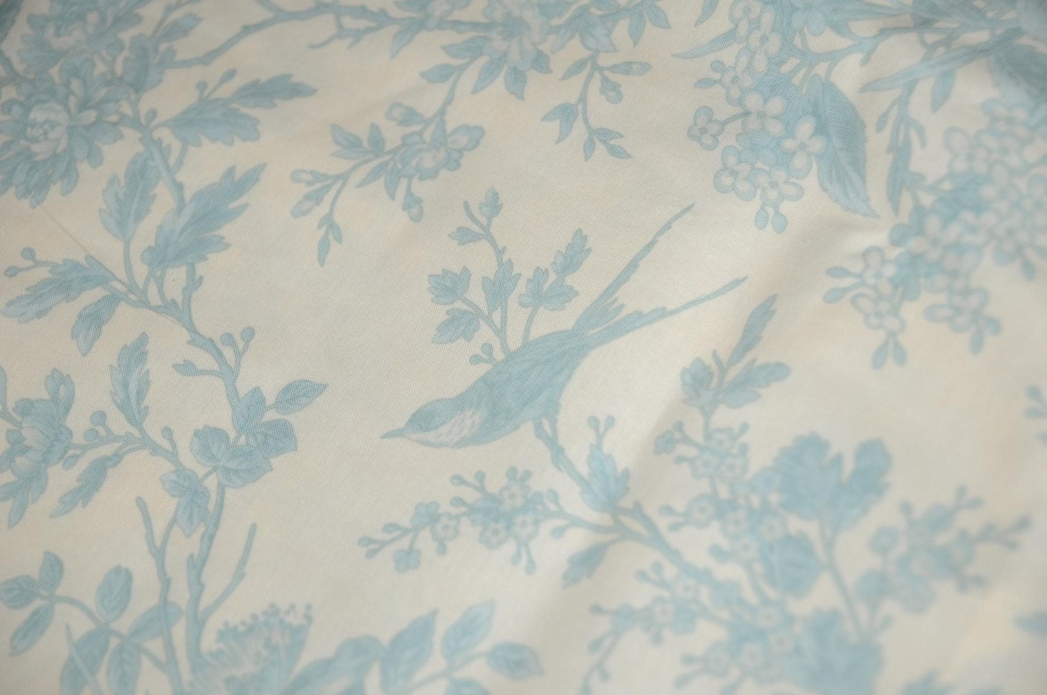 Pale blue toile shower curtain by unionsaltworks on etsy