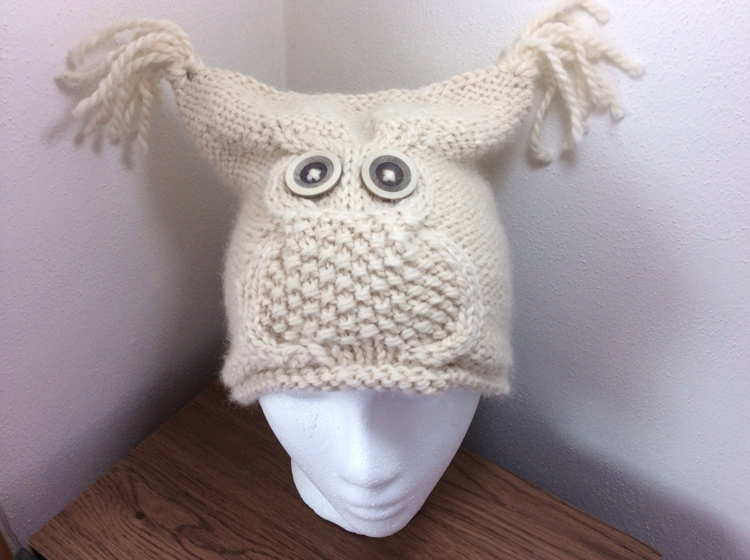 Alpaca Owl knit hat womans owl hat owl hat by CurlyTailCrochet