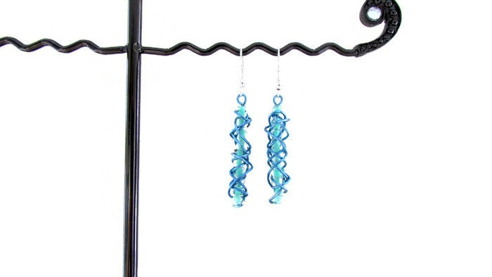 CLEARANCE Blue wire earrings wire wrapped day earrings with pale aqua blue seed beads silver plated earring wires handmade in the UK