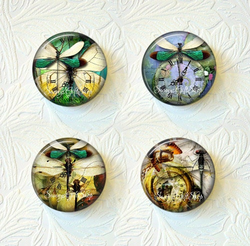 "Magnet Set Steampunk Dragonflies  ""Buy 3 get 1 Free""   171-MS - SunnysGiftShop"