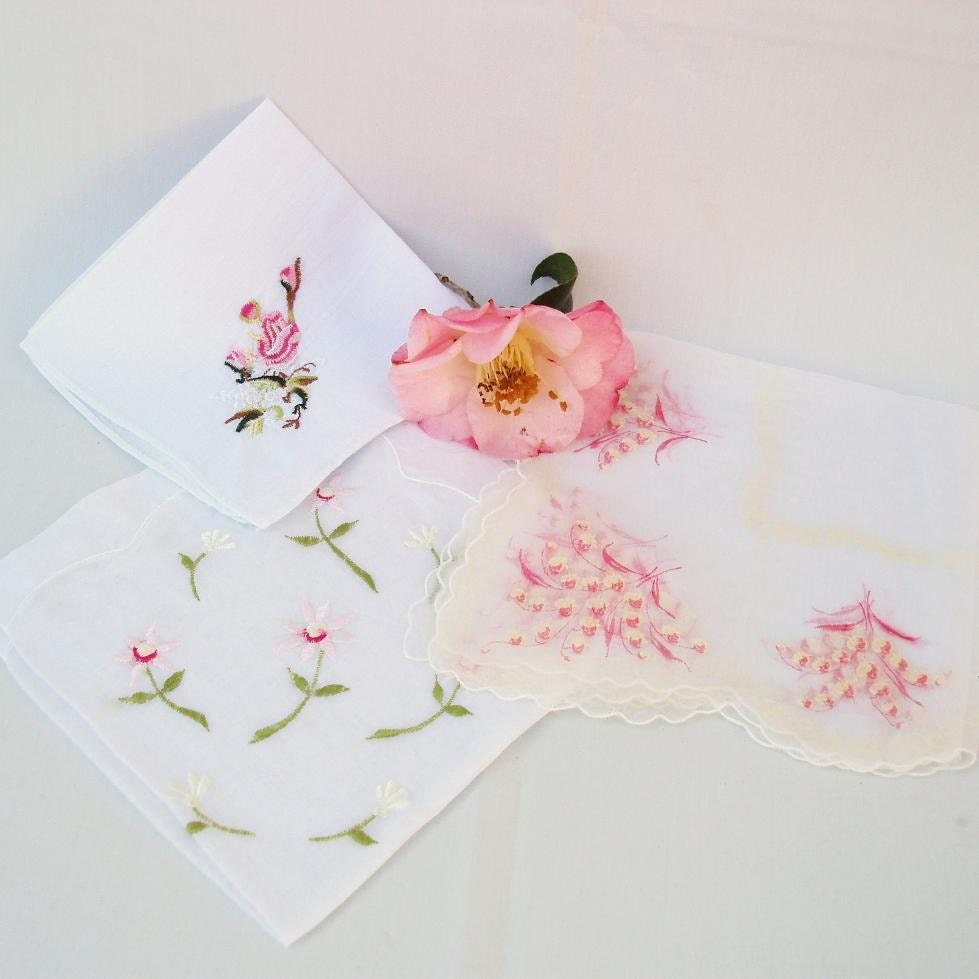 Vintage Embroidered Handkerchiefs Wedding Hankies By WhimzyThyme