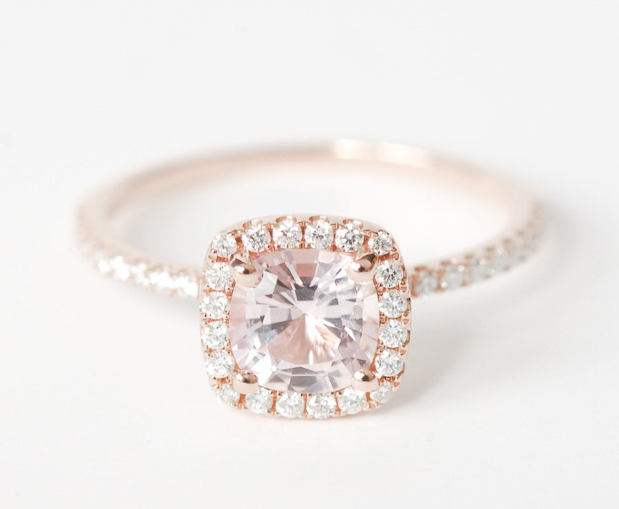 Certified Peach Pink Cushion Sapphire Diamond Halo by SundariGems