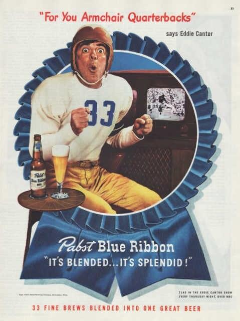 Vintage 1947 Pabst Blue Ribbon Beer Print Ad Eddie By Vividiom