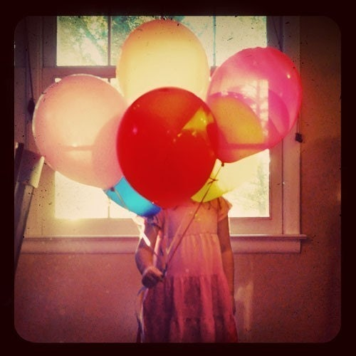 Balloon Girl TTV Portrait,  5x5 Print, Bold Color Photograph, Girl with Balloons, Red, Pink - ellemoss