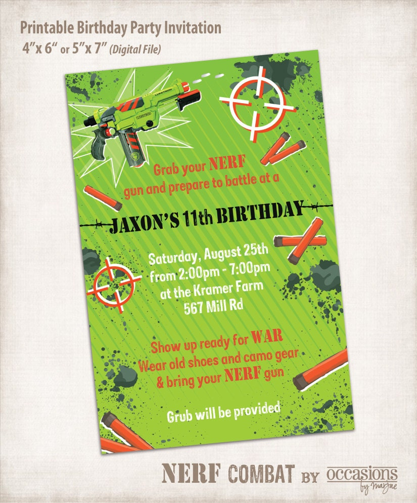 Free Printable Nerf Birthday Invitations ~ Nerf invitations images frompo