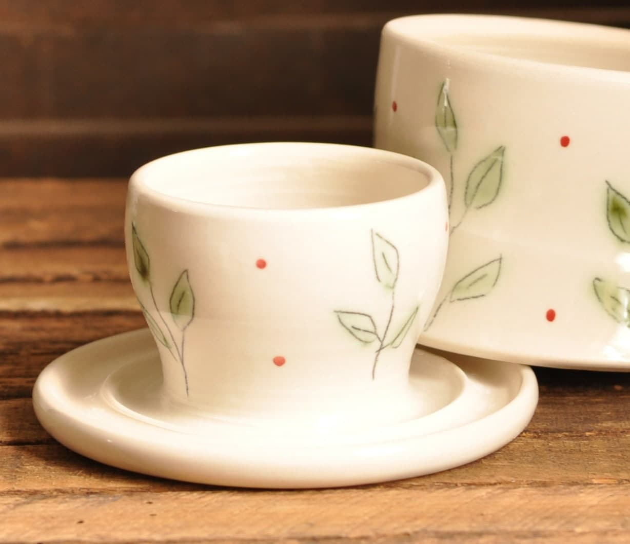 French Butter Keeper, Green Leaf Pattern - FoodieCeramics