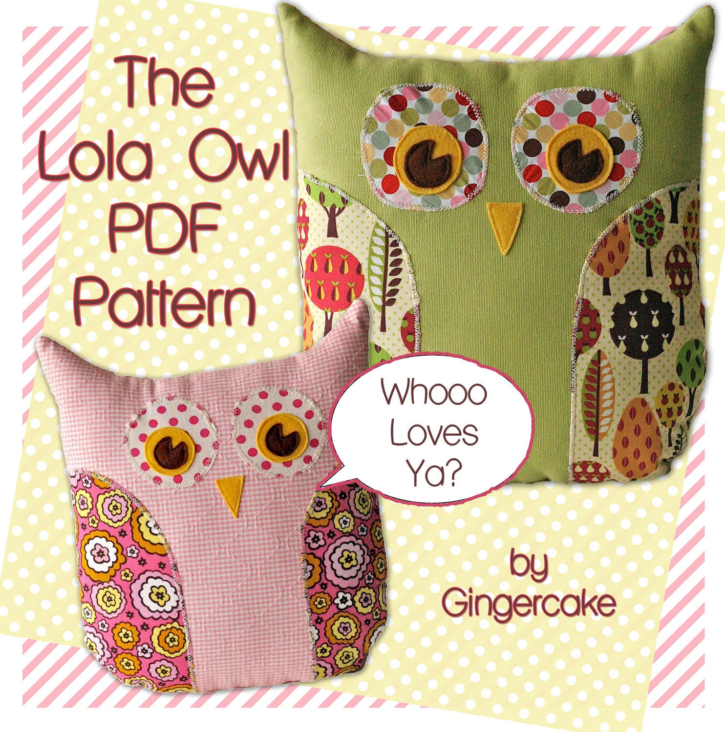 Cute Pillow Sewing Patterns : Owl PIllow PDF Sewing Pattern The Lola Owl PIllow and by ginia18
