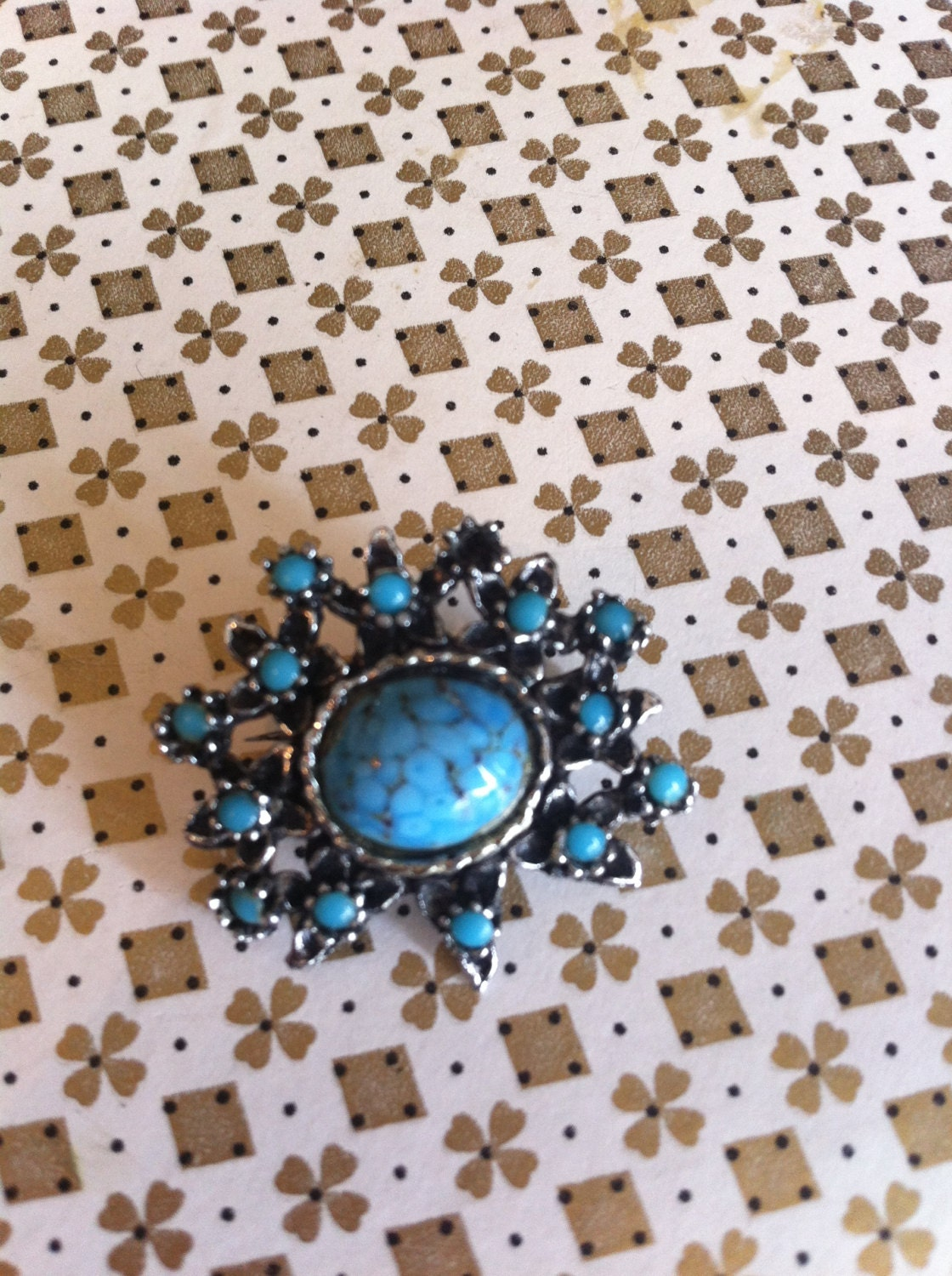 Vintage blue turquoise stone paste brooch pin antique vintage retro jewellery jewelry free postage
