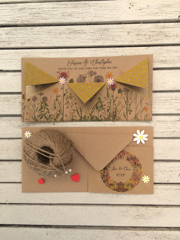 Wedding fete invite  Rustic bunting invitation  Vintage country wedding invite  RSVP cards