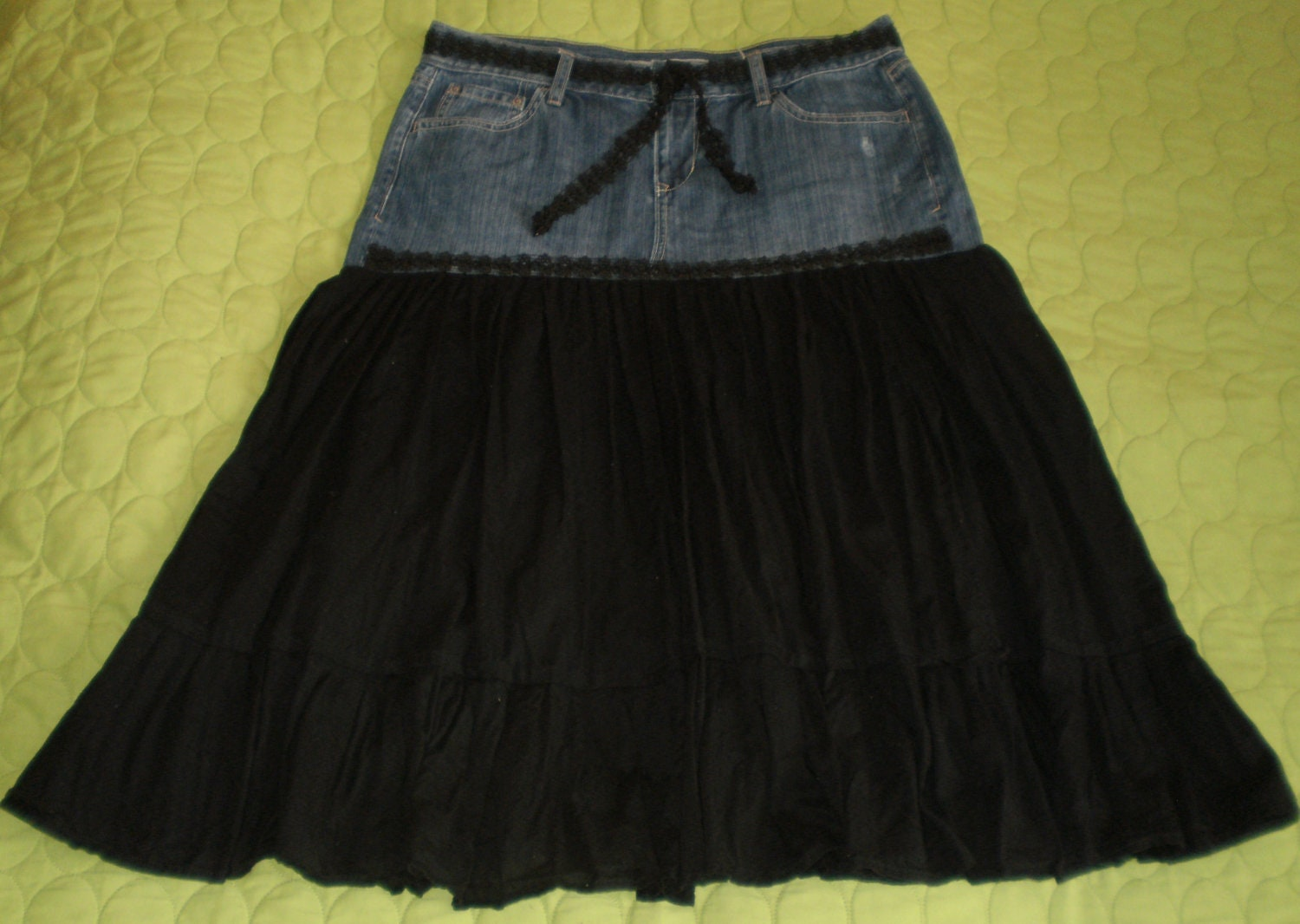 items similar to repurposed denim lace skirt black