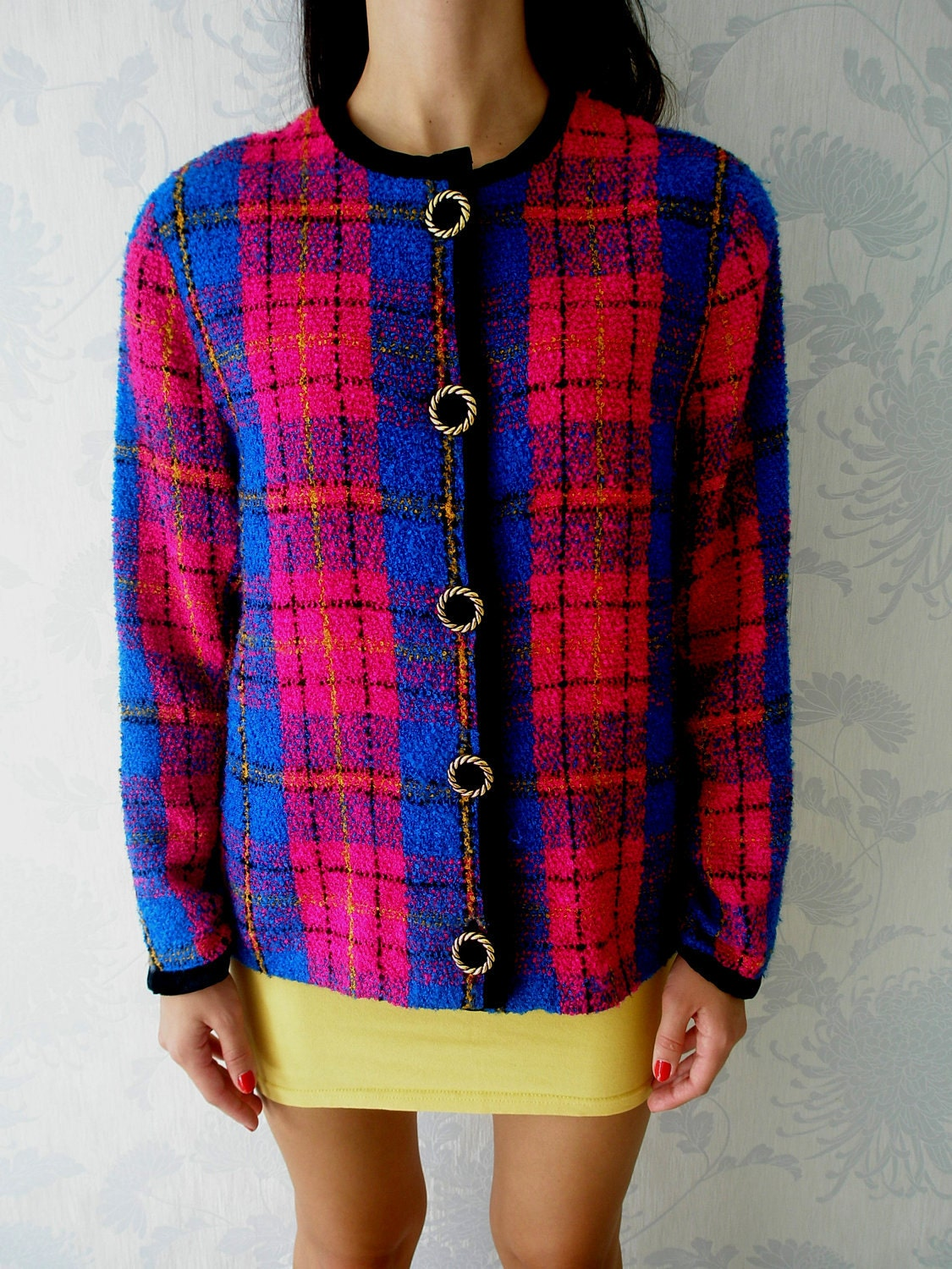 Tartan Plaid Jacket Classic Multi Colored Vintage 80s