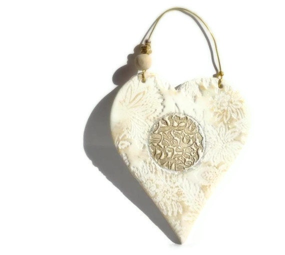 Golden White Flowers  Heart  SHEMA ISRAEL Texture Wall hanging  Handmade  Hostess Gift Homedecor - efiwarsh