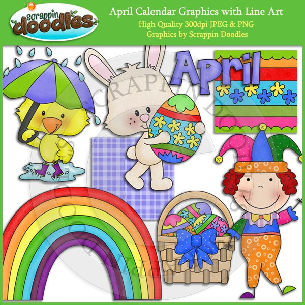 April Calendar Clip Art : April calendar clip art with line download by