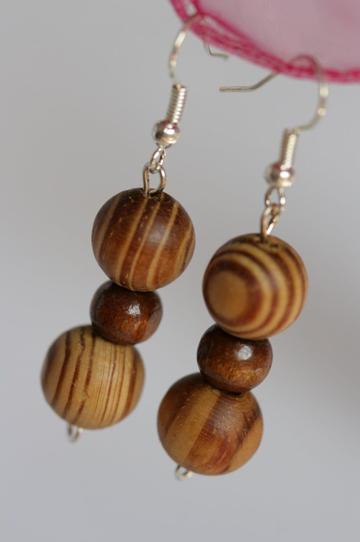brown wooden earrings brown earrings striped brown by jewellsy