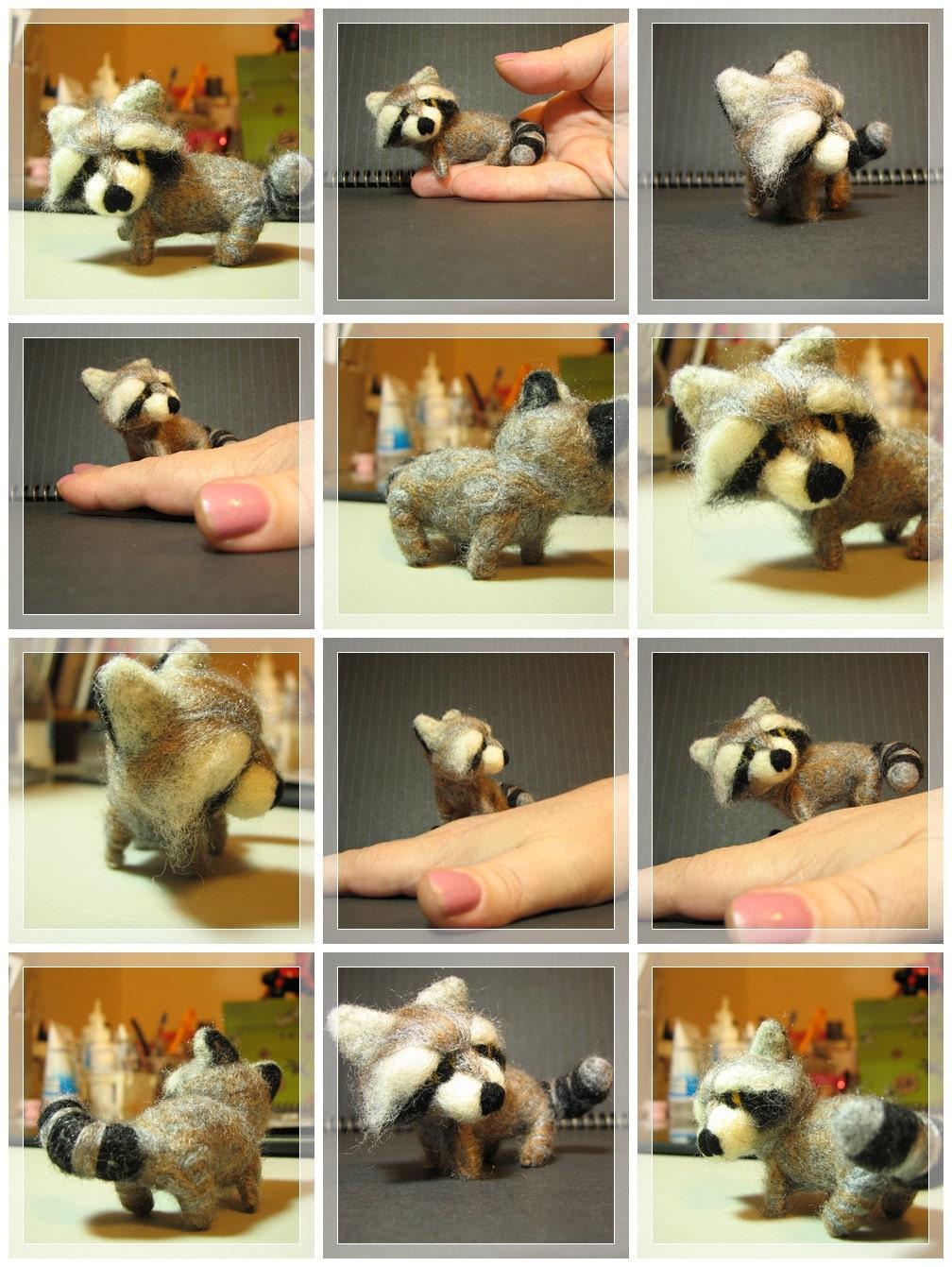 Handmade Needle Felted Chibi Racoon