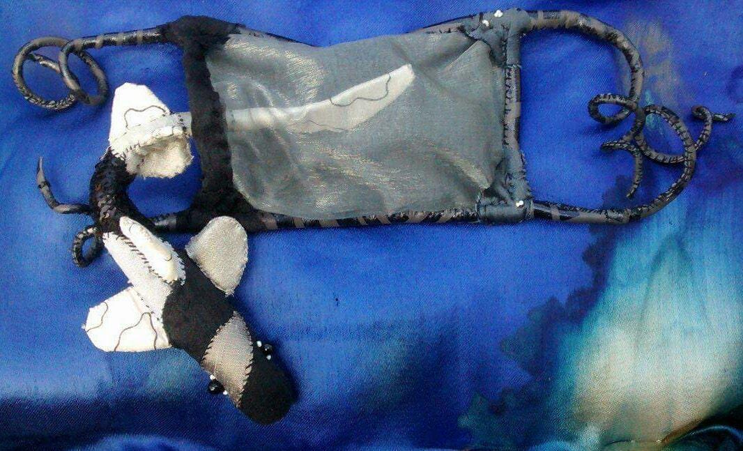 Shark and egg case fabric sculpture textile animal art ocean creature mermaids purse interactive art ornament
