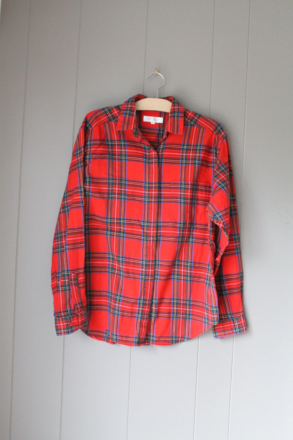 red plaid shirt cotton flannel shirt tartan plaid by liinaloom