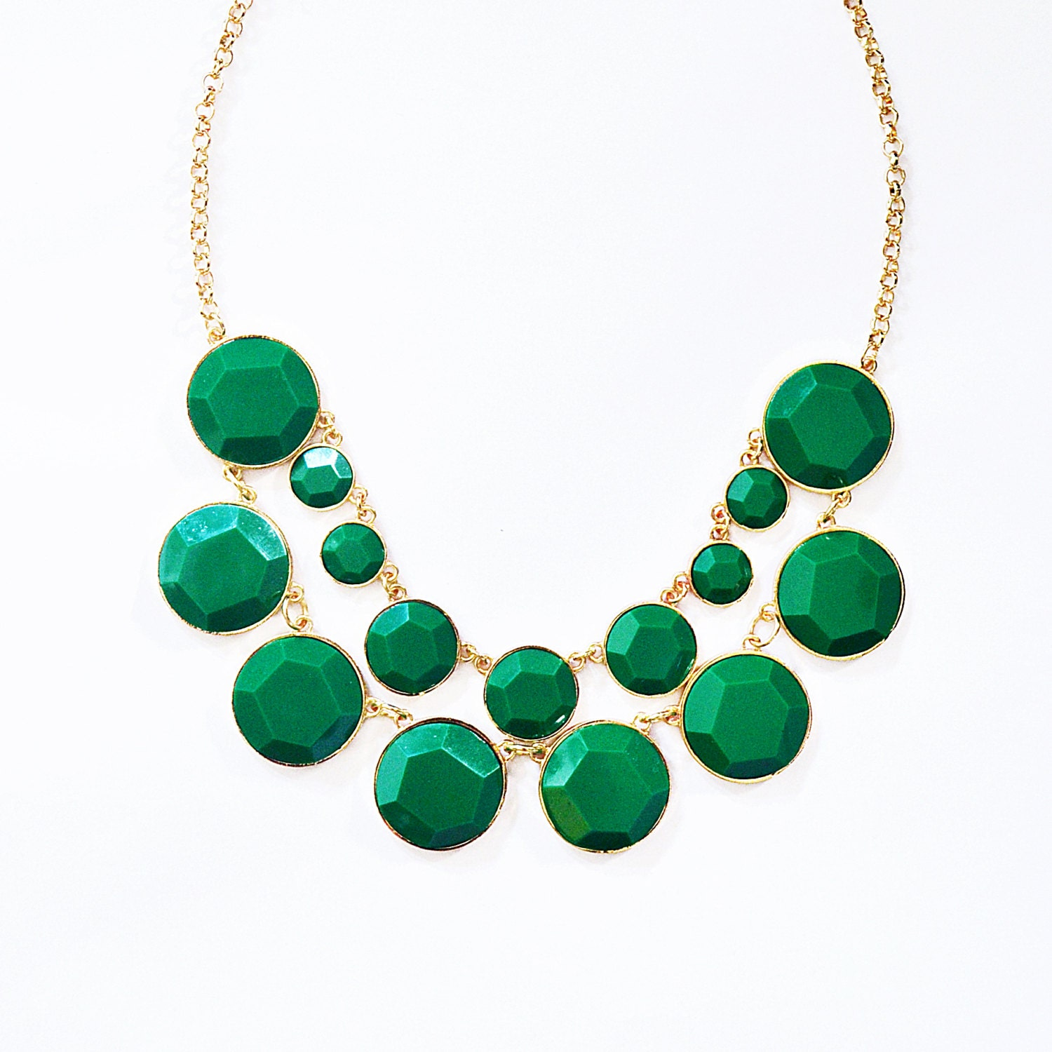 Baublebox Bib - Bauble Necklace - Green Necklace - Green Bib - Kate Spade Inspired - Statement Necklace - Kate Spade Baublebox Ship from US