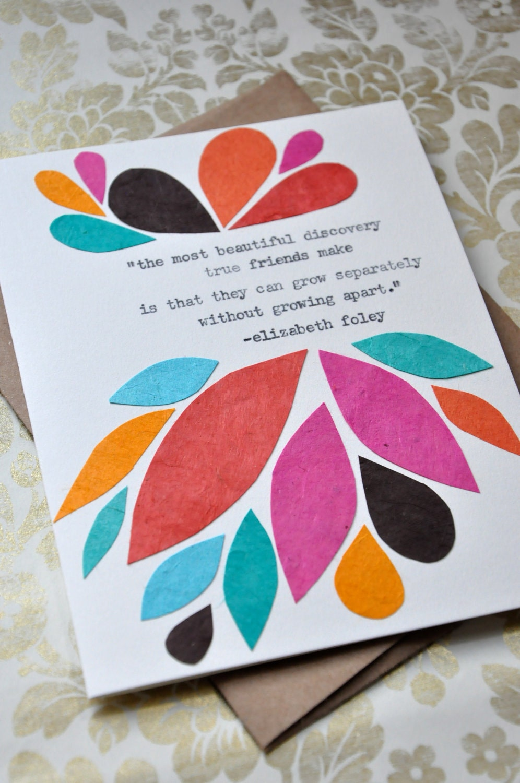 Birthday Card - Handmade Greeting Card - Friendship Quote Abstract ...: www.etsy.com/listing/82538423/birthday-card-handmade-greeting-card