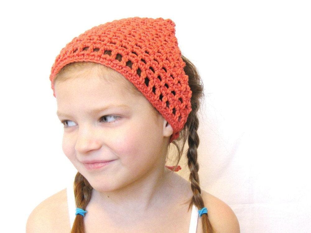 Crochet Hair Kerchief : crochet hair kerchief for women, girls, toddlers, or teens - orange ...