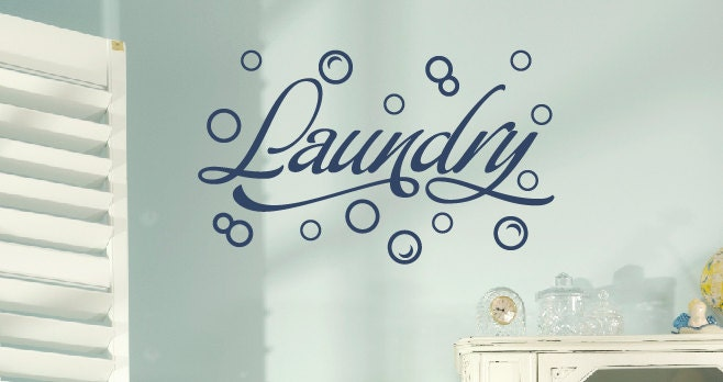 Wall Decal - Laundry Room with Bubbles - TweetHeartWallArt