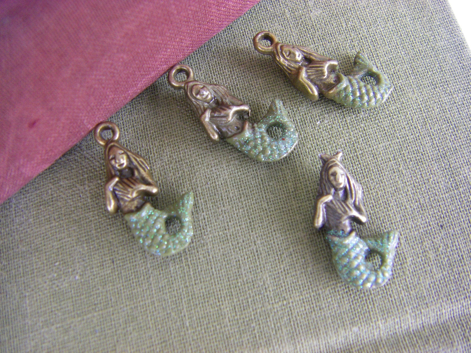 6 Hand Painted  Brass Mermaid Charms - green shimmer tails quantity 6