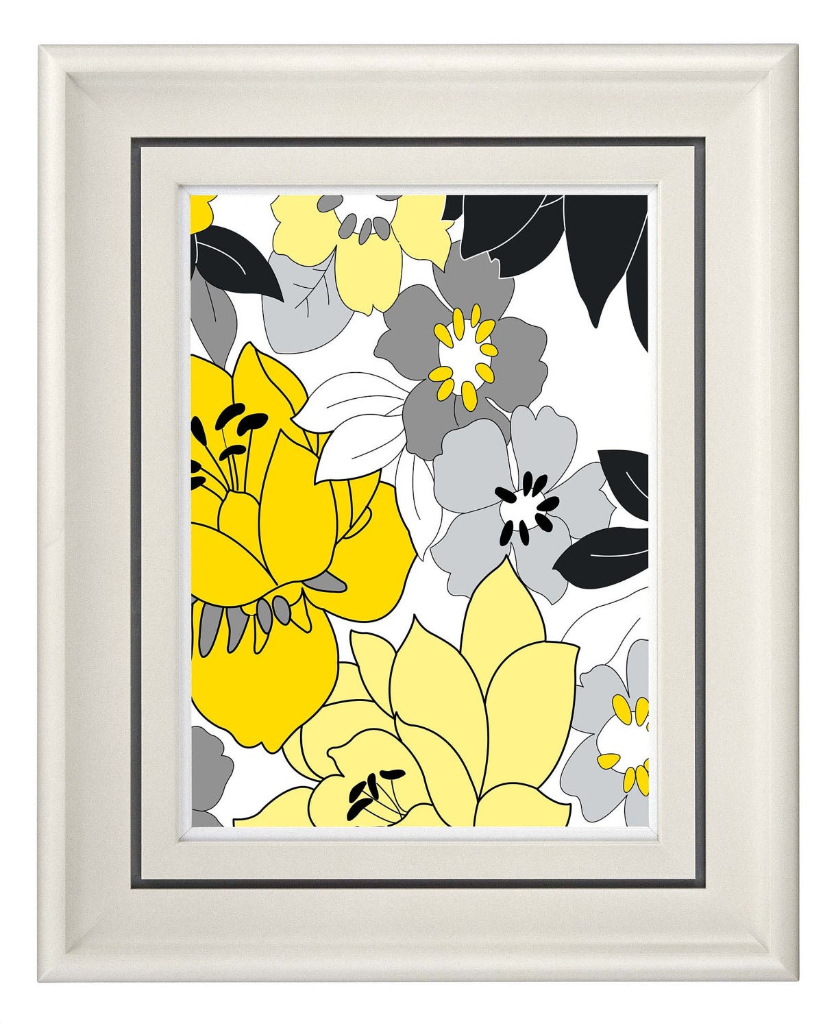 Yellow Flowers Wall Decor : Modern vintage yellow flower wall art home decor by catsbeads