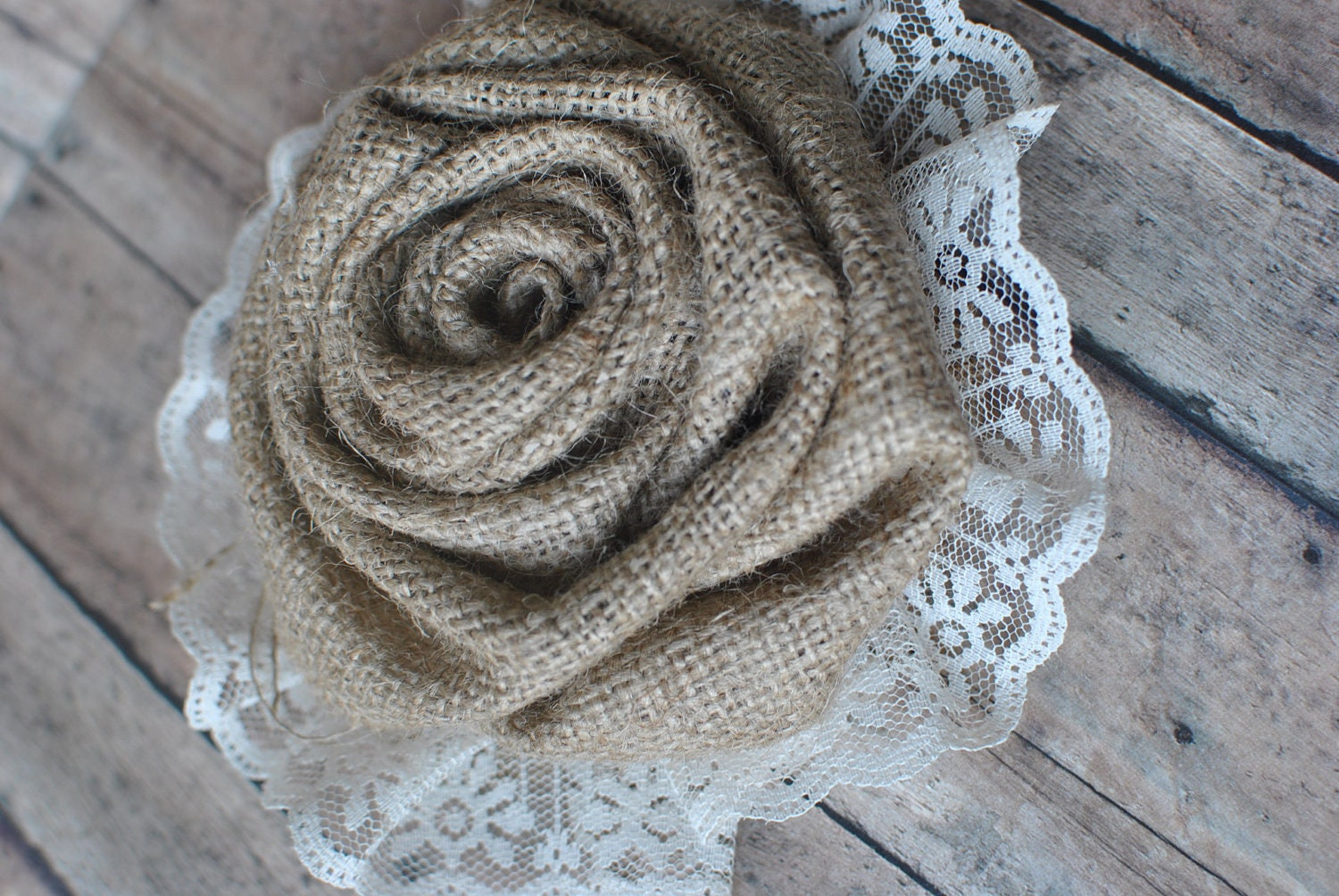 Burlap and lace flower accent- perfect addition to wedding decor and ...