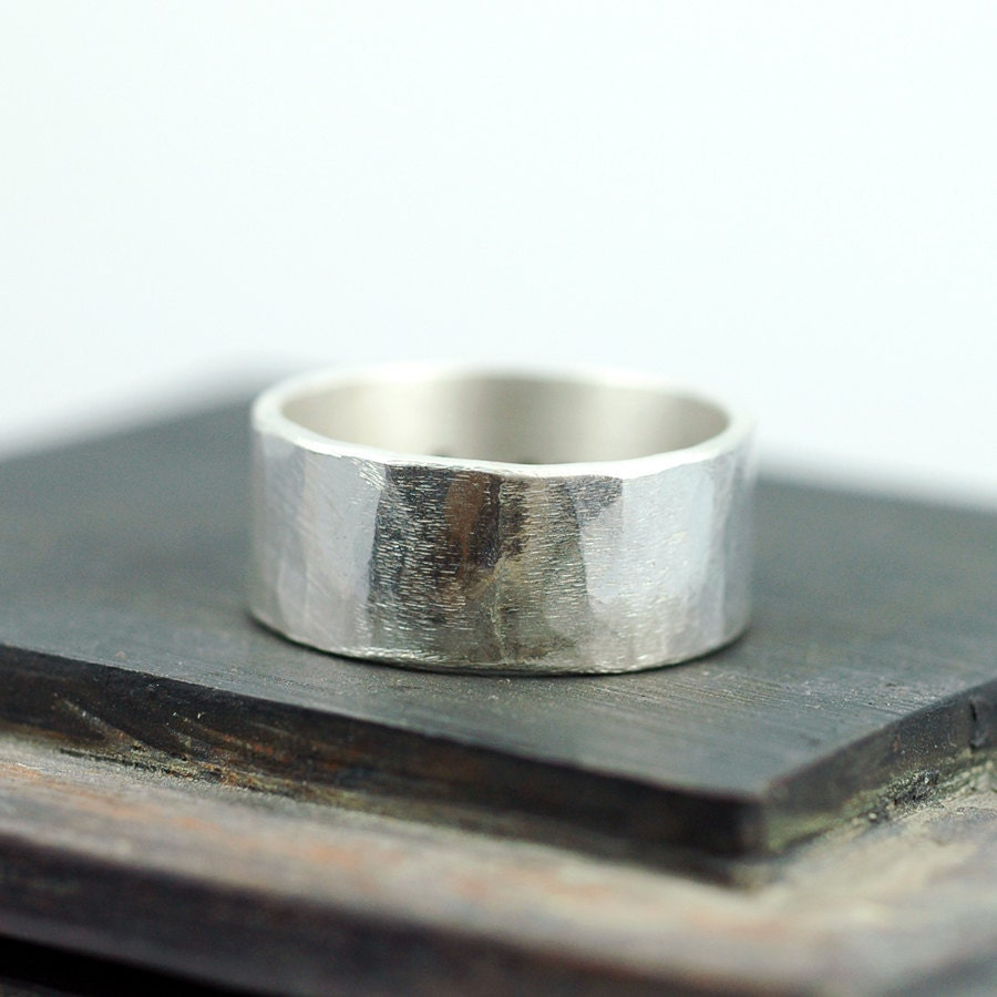 Wide Silver Ring with Hammered texture - 10mm wide - Recycled Eco Friendly Metal - Rustic Woodland Texture - Custom Personalized - thebeadgirl