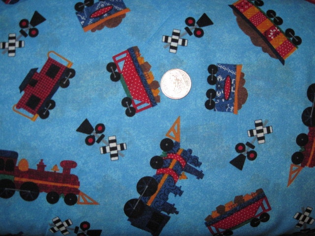 1 yard right on track cotton fabric bty train toss by for Train fabric by the yard