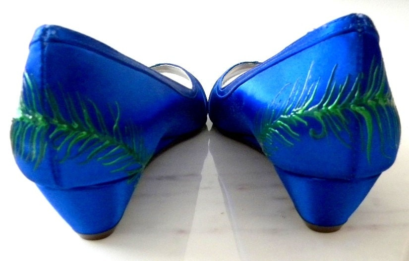 Wedding Shoes Sapphire Blue Peacock Feather Painted By Norakaren