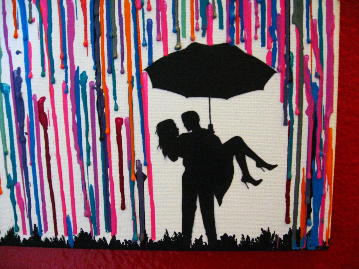 Handmade Encaustic Wax Painting Couple in the rain by FembyDesignCouple Silhouette Umbrella Crayon Art
