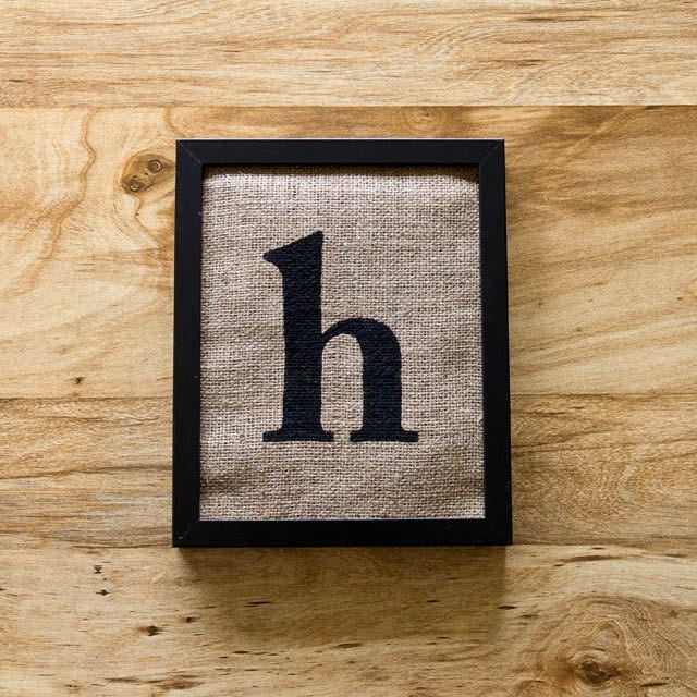 Lowercase Letters Wall Decor : Sale letter h burlap wall art alphabet decor initials by