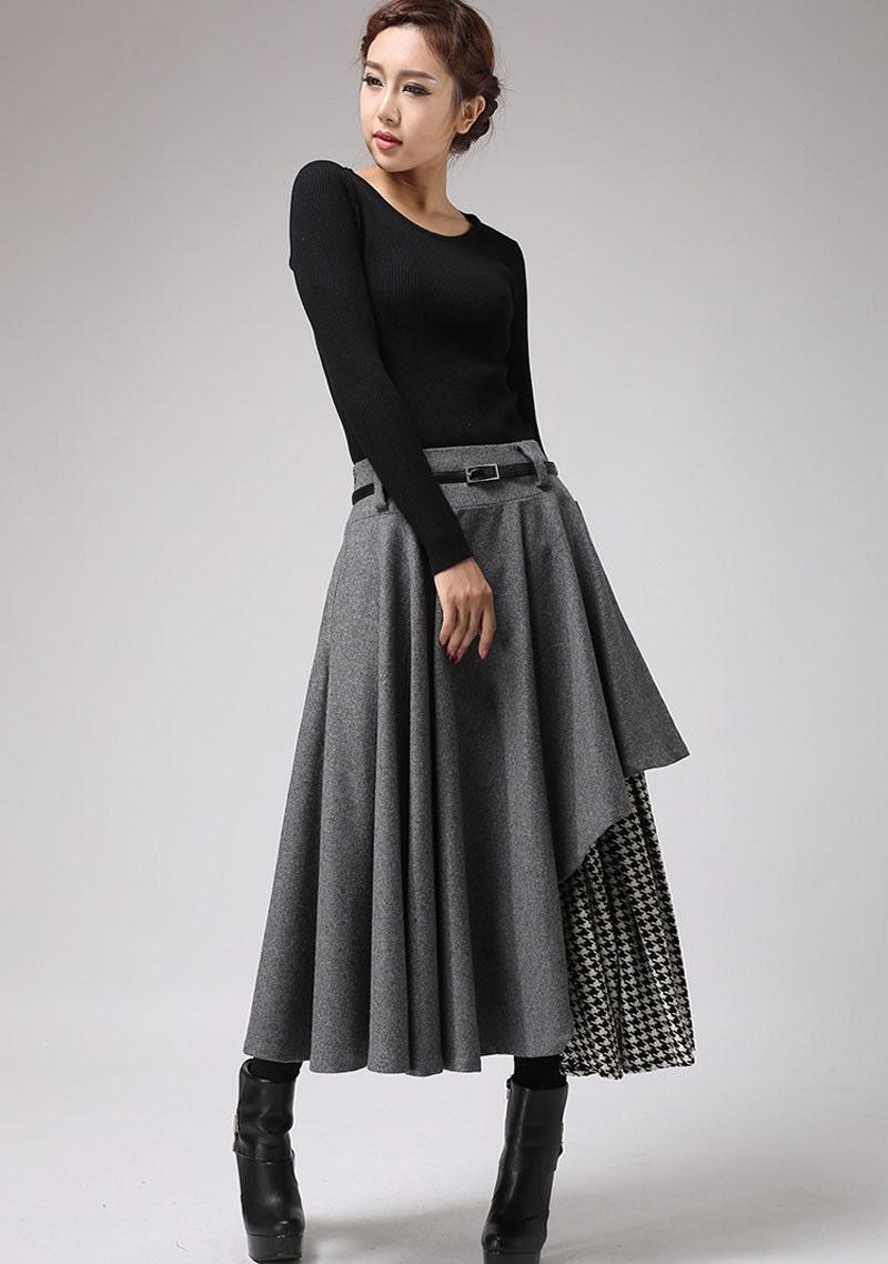 gray wool skirt winter skirt layered long skirt (720) - xiaolizi