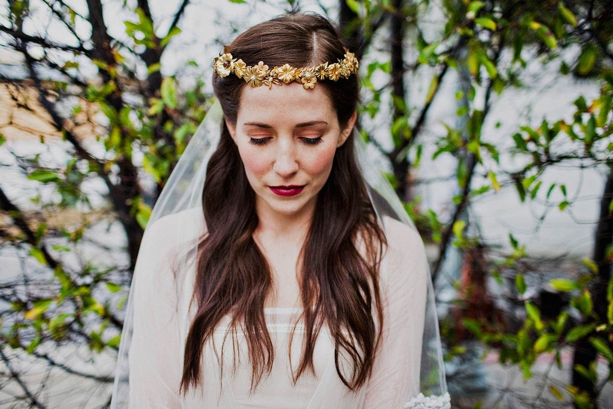 Brass flowers and leaves crown with silk ribbon ties and crystal beaded alencon lace tulle veil comb, style 502