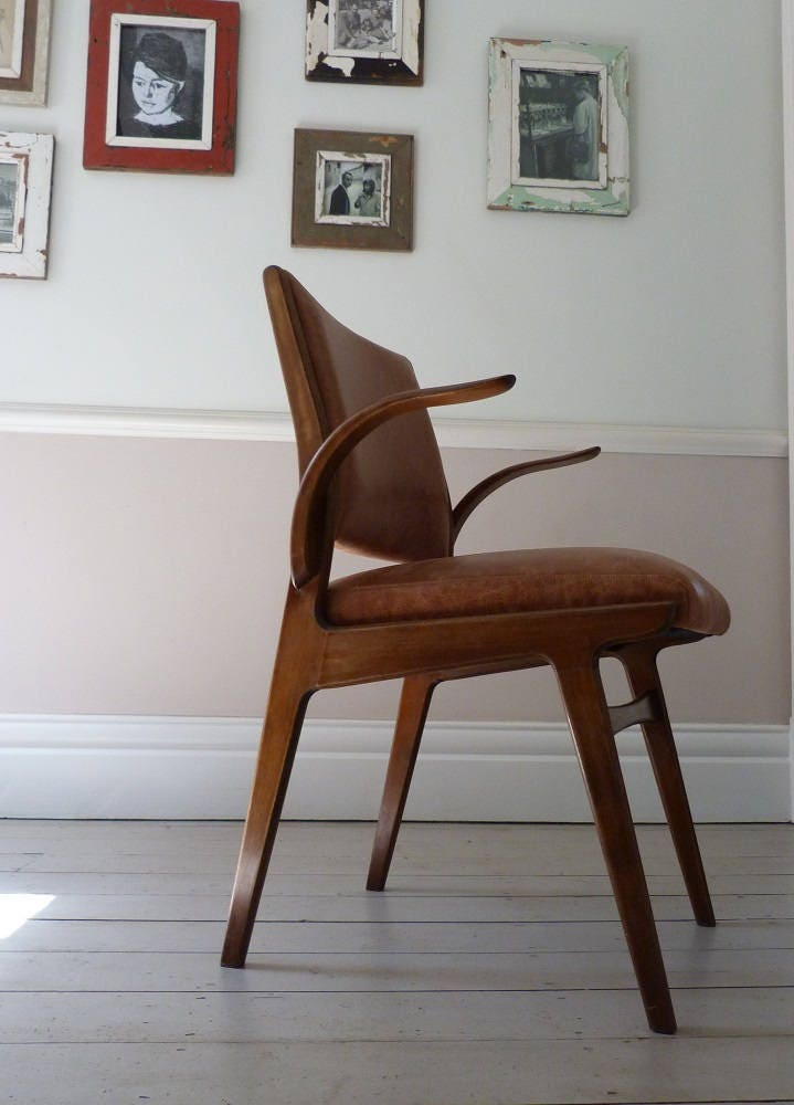 Vintage Swedish Leather Office Chair  Desk Chair c.1955