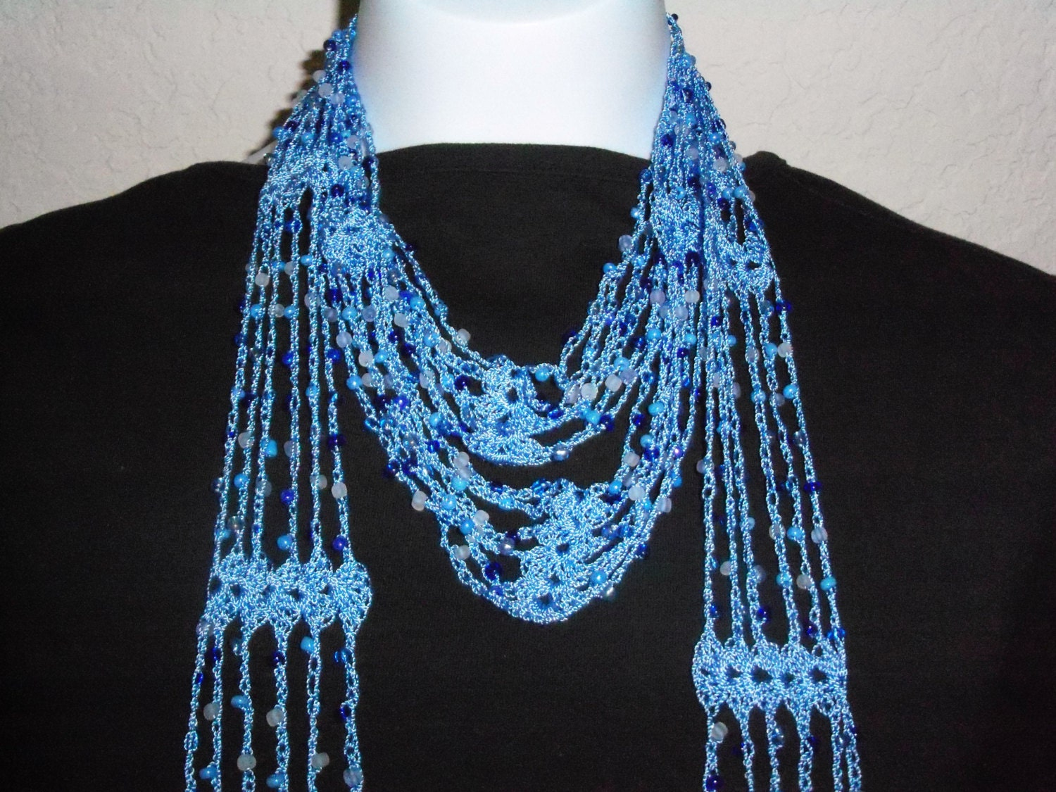 Crochet Scarf Pattern With Beads : Crochet Beaded Blue Scarf with Blue Beads New by nanaswoolies
