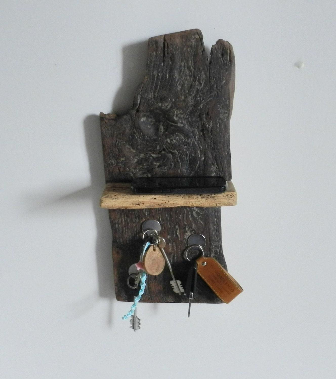 rustic wooden magnetic key holder shelf natural by stwoodandco. Black Bedroom Furniture Sets. Home Design Ideas