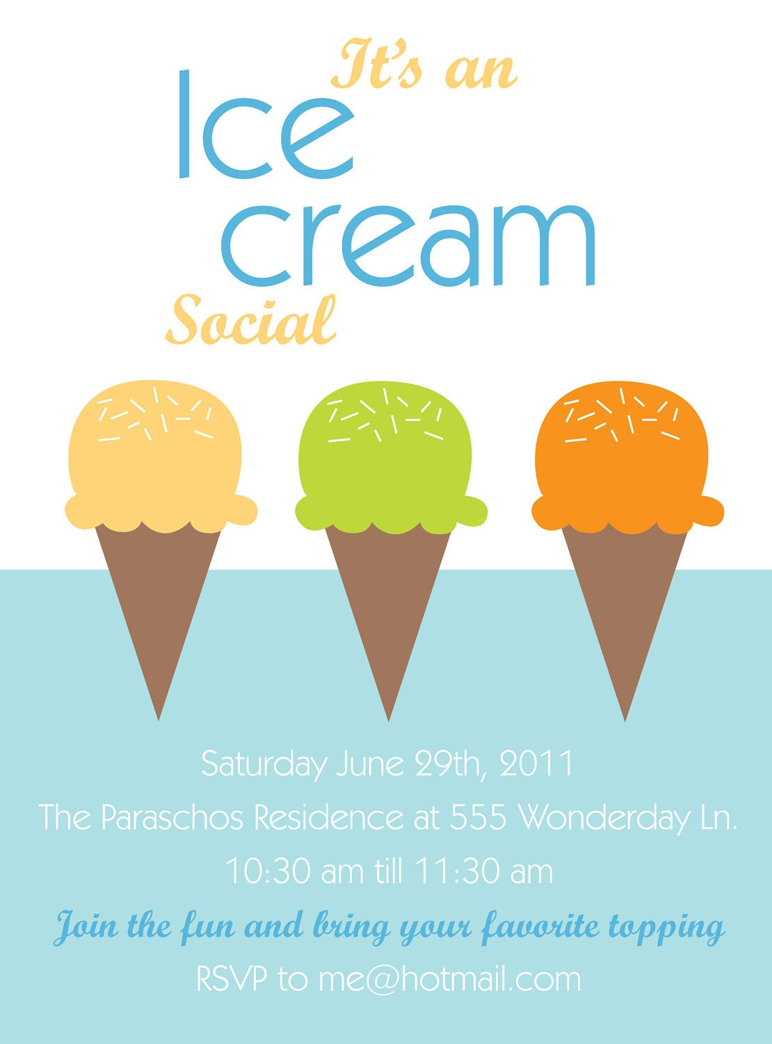 Items similar to Printable or Emailable Ice Cream Social OR BIRTHDAY Invitation - Customizable ...