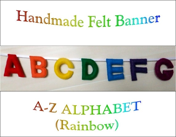 Made to order felt abc 26 alphabet letters sign by for Felt letter sign