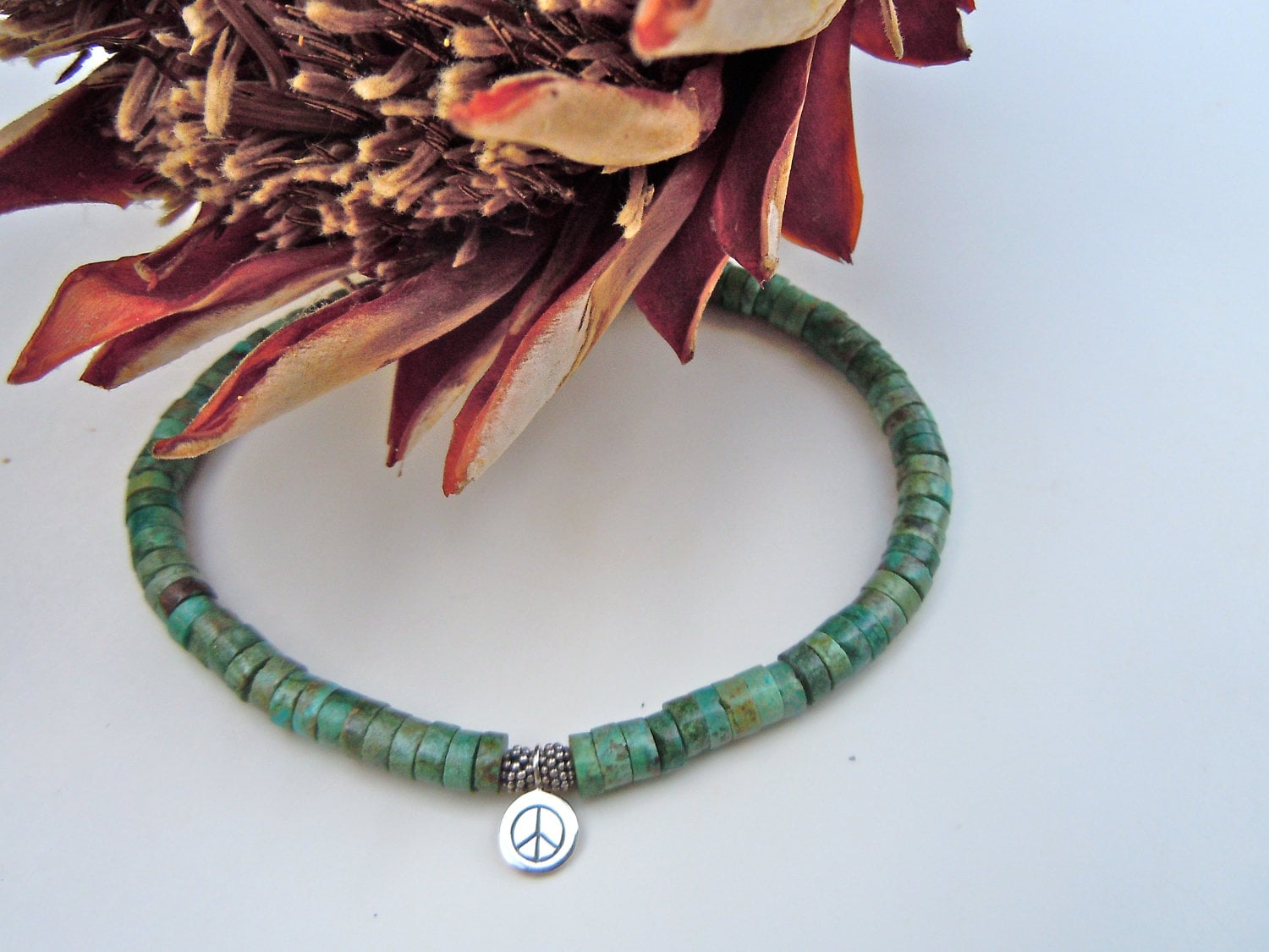 Turquoise Ankle Bracelet, Silver Peace Anklet, Peace Sign Charm