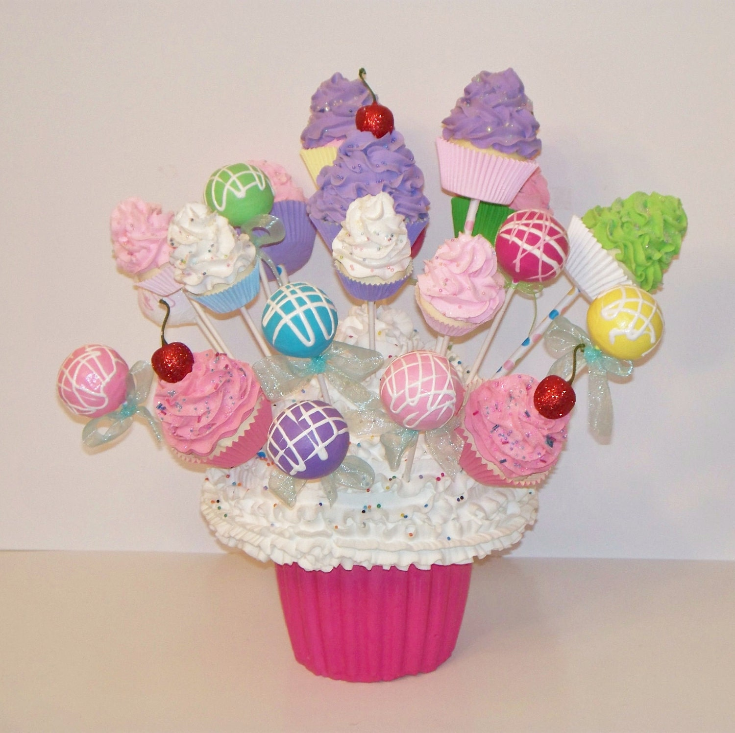 ONE  Fake Cupcake Lollipop Cake Pop Standard Size Choose Colors,Birthday Party Decor, add to Arrangements, Centerpiece, Gifts - FakeCupcakeCreations